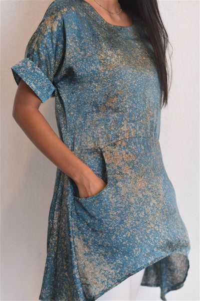 Pastel Green Silk Batik Tunic Top