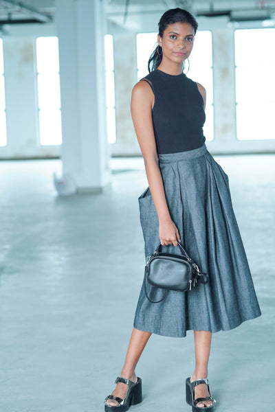 Maxi Black Denim Skirt
