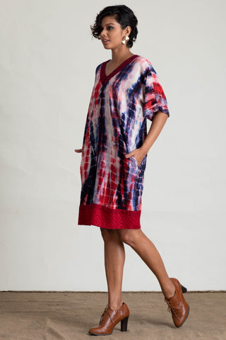 Handloom Panelled Tie Dye Shift Dress