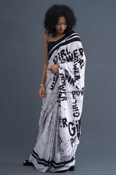 Urban Drape Girl Power Batik Saree - Fashion Market.LK