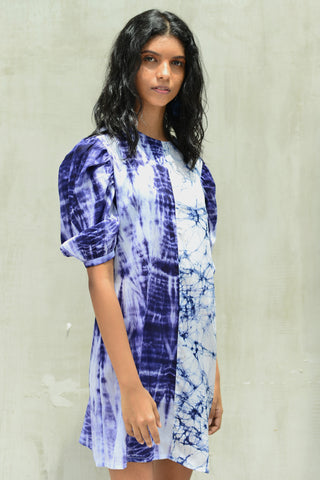 Shirt Dress with ruffle-chambray