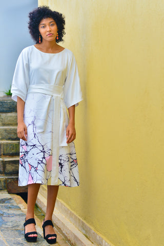 Prismatic Crack Kimono Midi Dress