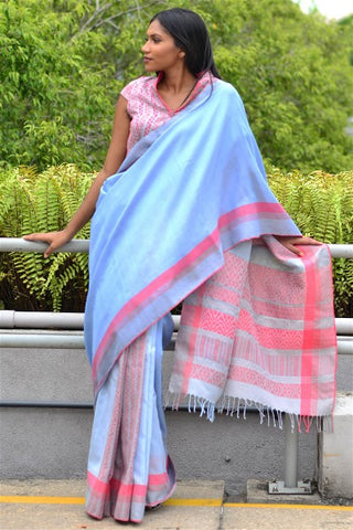 Urban Drape Mist Blue Saree