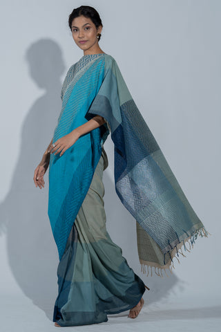 Urban Drape Zen Blue Saree -Shipping From 21st February