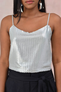 Silver Sequins Crop Blouse