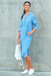 Stirped Contrast Denim Shirt Dress