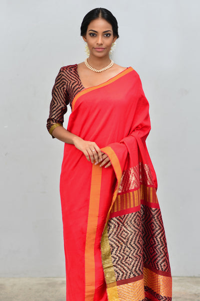 Urban Drape Cherry Wood Saree - Fashion Market.LK