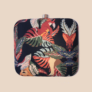BLACK BASED BIRDS PRINT SQUARE CLUTCH