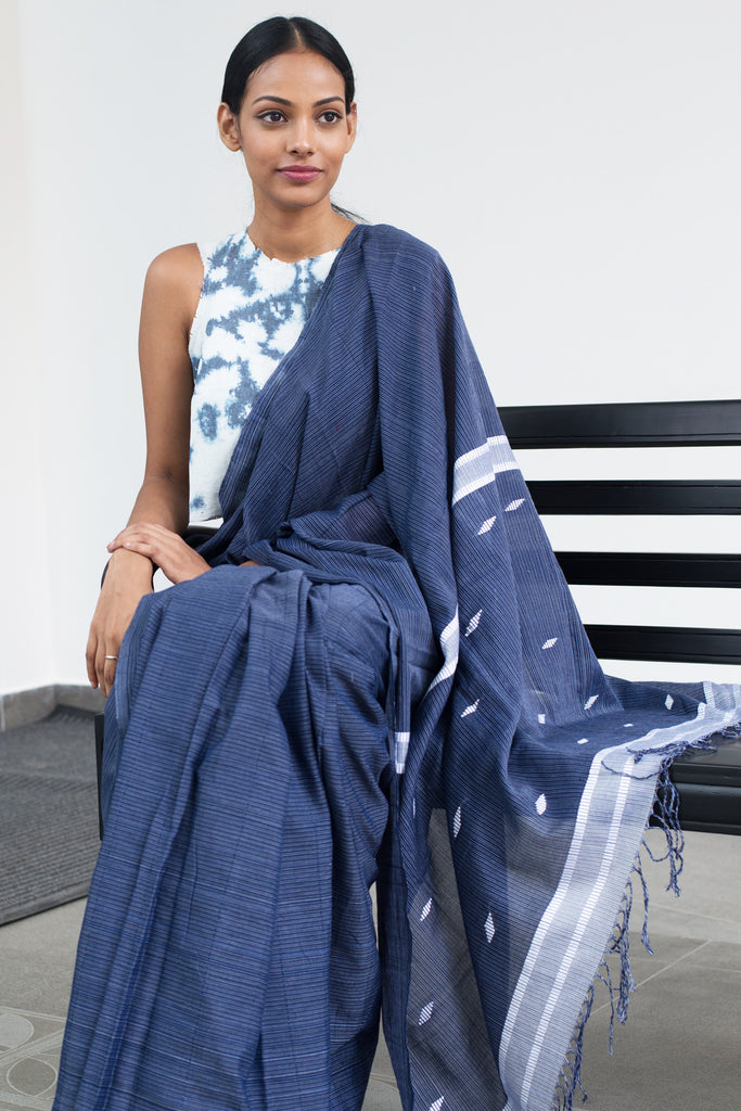 Indigo Denim Saree- Immediate Shipping -Order Now