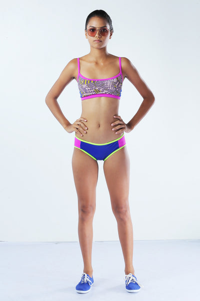 Rum Punch Sporty crop top with removable cups & hip hugger - Fashion Market.LK