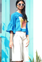 Load image into Gallery viewer, Ceylon Thambili Stamp Ruffle Sleeve Top