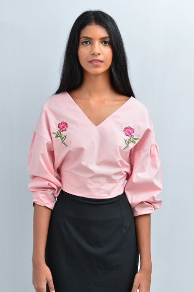 Embroidered Cotton-Poplin Cropped Top