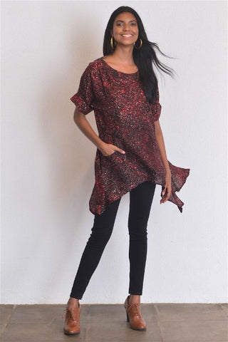 Maroon Silk Batik Tunic Top