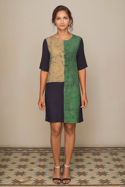 Navy block Batik Shift dress