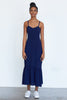 Navy blue crepe dress
