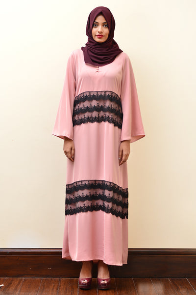 Peach Abaya With Lace - Fashion Market.LK