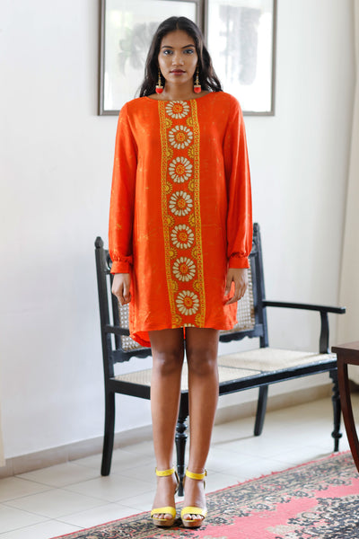 Batik Silk Shift Dress