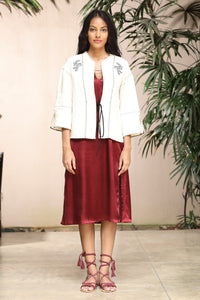 Embroidered linen cardigan - Fashion Market.LK
