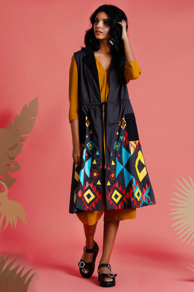 Nizhoni Printed long jacket - Fashion Market.LK