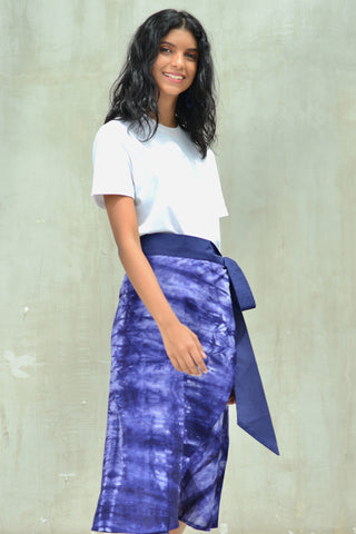 Blue Batik Wrap Skirt