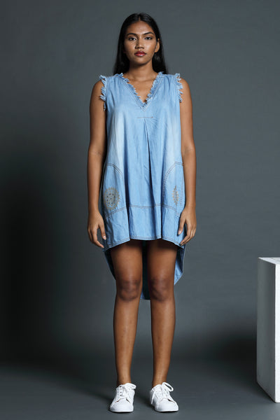 Denim Frayed dress with Dipped Hem