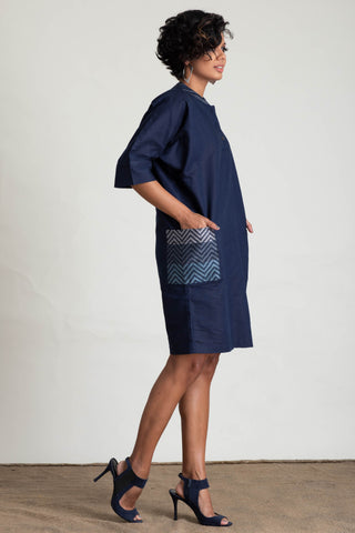 Dolman Sleeve Handloom Patch Pocket Shift Dress
