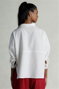 Queen Of Clubs Drop Shoulder Shirt - White