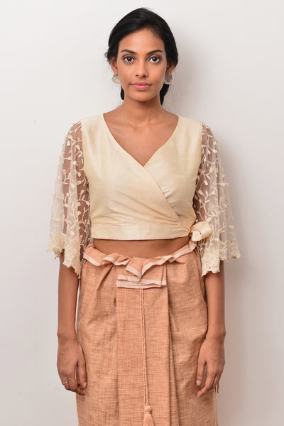Manel Crossover tie up crop top - Fashion Market.LK