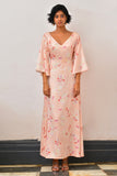 Cherry Blossom Back Self Tie-Up Maxi Dress - Fashion Market.LK