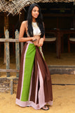 Brown & Khaki Color Block  Beach Wrap