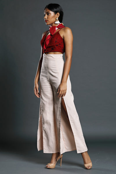 Linen high-waist pant with slits