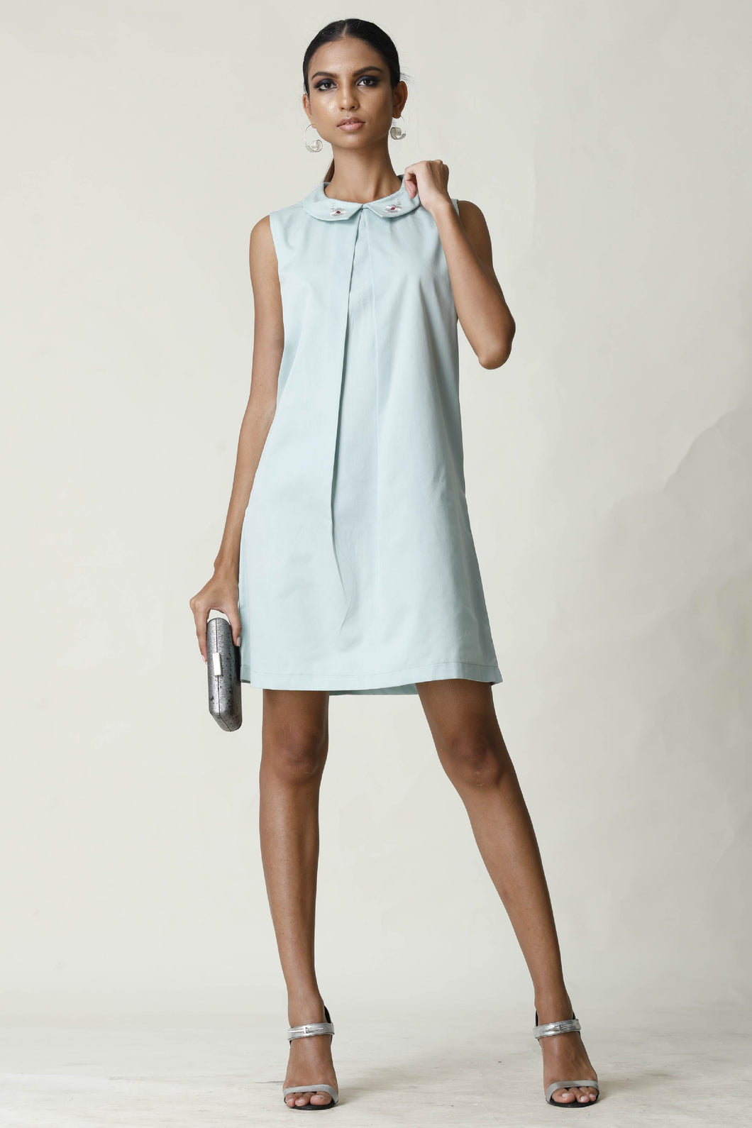 Embroided Collar Aqua Shift Dress