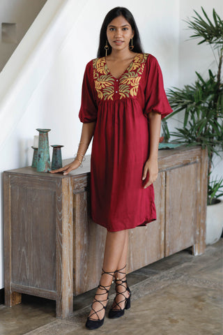 Embroidered Dress With Kimono Sleeves