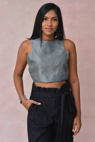 Sleeveless Raw Silk Crop Blouse