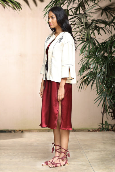 Embroidered linen cardigan