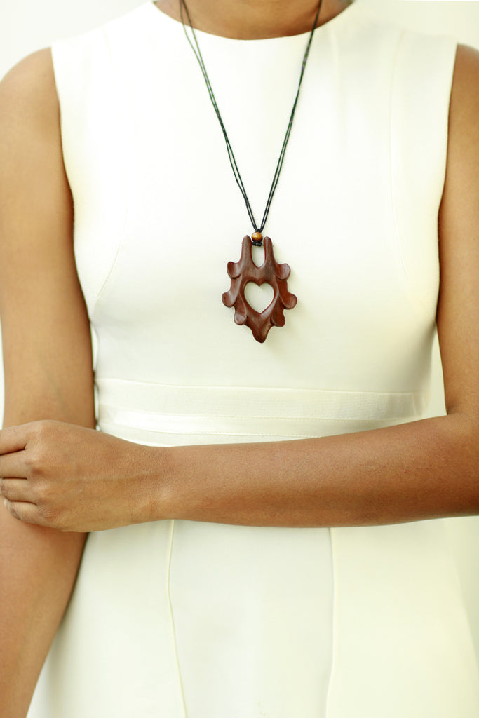 Wooden Necklace with Leather Cord