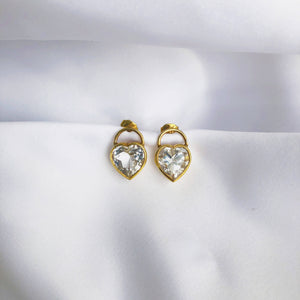 White Topaz Heart Earrings
