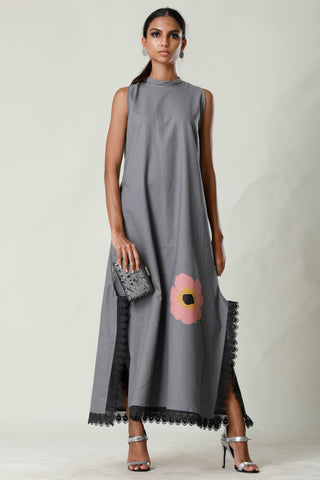 Gray Lace Slit Long Maxi