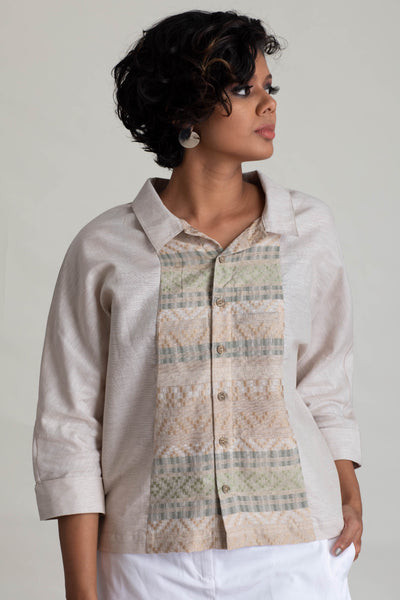 Dolman Sleeve Handloom Panelled Top V2