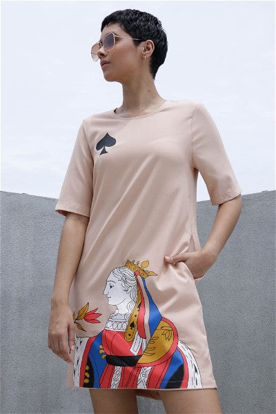 Queen Of Spade Shift Dress - Beige
