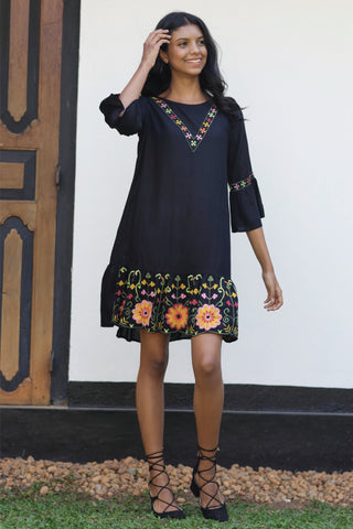 Embroidered Dress With Frilled Sleeves