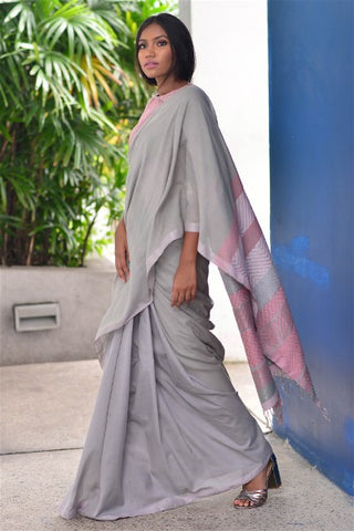 Urban Drape Silver Cloud Saree