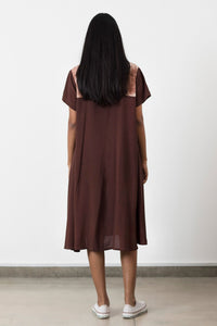 Brown Flared Shirt Dress - Fashion Market.LK
