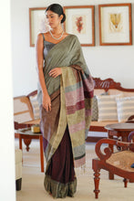 Load image into Gallery viewer, Urban Drape Greyed Raindow Saree