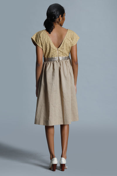 Eyelet lace  Jacquard Trimmed Gown - Fashion Market.LK
