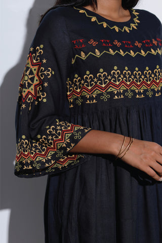 Embroidered Dress With Flared Sleeves