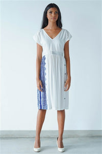 Ceylon Motif High-Waist White Dress