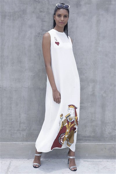 Queen Of Hearts Maxi Dress - White