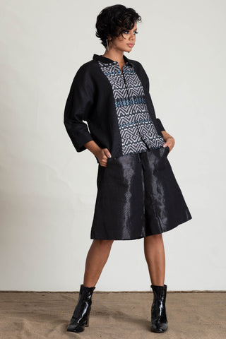 Ceylon Motif Batik Panel Tie Sleeve Top