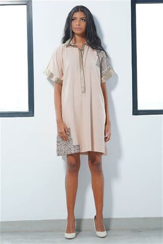 Oversized Dust Shirt Dress with Jacquard Collar